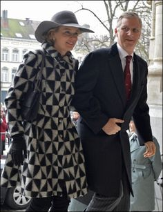 Princess Mathilde and Prince Philip of Belgium arrives for the Remembrance Mass of the past Royal Family on 19 Feb 2013