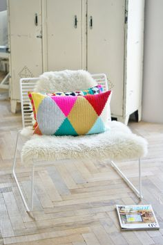 wood & wool harlequin pillow.