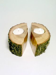 Split Log, Log Candle Holder, Log Centerpiece, Tea light Candle Holder, Rustic Centerpiece, Room Decor - SET OF 2. $25.00, via Etsy.
