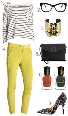stripes + bright yellow + leopard = chromatic perfection #fashion