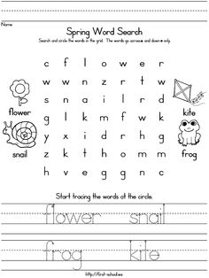 Spring theme word search, and trace-n-write, also with blank lines available. ot idea, futur class, ped ot, preschool kid, kid activ, teacher craftsclassroom, spring preschool, craftsclassroom idea