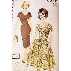 "Amazon.com: Butterick 2315 Shirt Dress with Full or Slim Skirt, Rockabilly Size 14 (Bust 34"") Vintage 1960s Quick n Easy: The McCall Pattern Company: Books"