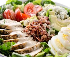 The Ultimate #Cobb #Salad includes Roquefort #cheese! Check out our recipe for this filling salad!