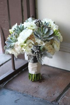Spray Roses, Succulents, Freesia, Brunia, Poppy Pods, Dusty Miller, Poms