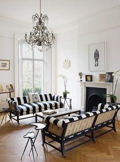 london home, interior design, white living, living rooms, couch, black white, hous, live room, stripe