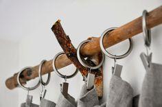 DIY branch curtain rod and bracket