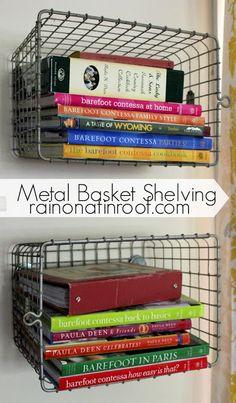 DIY Metal Basket Shelving {rainonatinroof.com} #organize