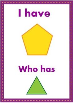 $ I Have, Who Has: Colors Plus Shapes. Includes 24 cards to practice colors and shapes.
