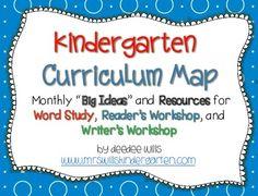 Kindergarten Curriculum Map-ELA FREEBIE
