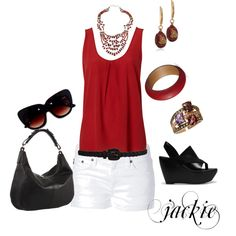 """White shorts with black and red"" by jackijons on Polyvore"