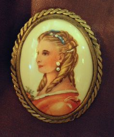 French Limoges Blonde Beauty Brooch