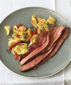 Steak With Artichoke and Cherry Pepper Sauté recipe