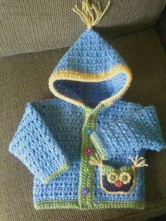 Crochet owl sweater.