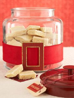Looking for a quick and cute way to wrap your presents? Try our Santa's Belt-Wrapped Jar for Cookies: http://www.bhg.com/christmas/gifts/christmas-glassware/?socsrc=bhgpin110813santasbeltwrappedjarforcookies&page=1