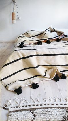 Moroccan POM POM Wool Blanket - Black Stripes | #saltstudionyc