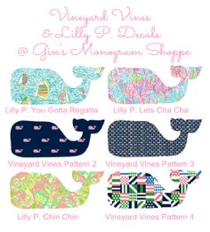 Vineyard Vines meets Lilly Pulitzer whale decal sticker in any size and pattern