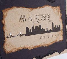 Love in New York Handmade Wedding Invitations set ten