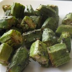 ROASTED OKRA 18 fresh okra pods, sliced 1/3 inch thick 1 tablespoon olive oil 2 teaspoons kosher salt, or to taste 2 teaspoons black pepper, or to taste Preheat an oven to 425 degrees F (220 degrees C). Arrange the okra slices in one layer on a foil lined cookie sheet. Drizzle with olive oil and sprinkle with salt and pepper. Bake in the preheated oven for 10 to 15 minutes. ☆ Thank you all for passing my things around and sharing ☆ ┊ ┊ ┊ ☆ Follow me ---> ...