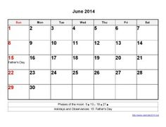 Printable Calendar 2014 June Templates