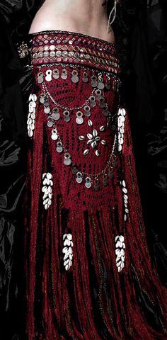 Crochet Net Tribal Mirror Fringe Belt - I love tribal/belldance fashions.. .think they are stunning.