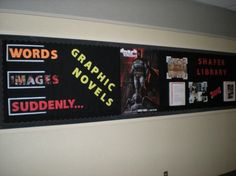 """Words, Images, Suddenly ... Graphic Novels"" library bulletin board display"