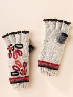 Icelandic Design Eshana Fingerless Gloves from @sahaliecatalog - Love that red embroidery!