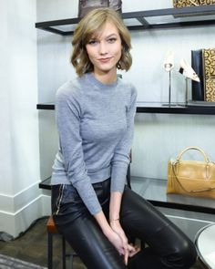 simple grey sweater + leather / love / karlie kloss