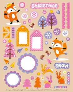 Fabulously adorable pink, purple and orange hued winter printables. #scrapbooking #printables #free #downloadable #crafts #winter #cute #fox #snowflakes