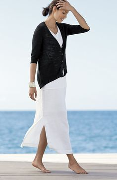 Pure Jill long linen skirt | www.jjill.com