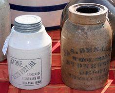 Fruit jar and salt crock