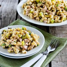 Tuna and Macaroni Salad Recipe with Dill Pickles, Capers, and Green Onions; trust me when I say this tuna and macaroni salad is amazingly delicious! (It's the capers, plus my tricks for adding flavor to the dressing that makes this so good.) [from Kalyn's Kitchen] #PastaSalad #SummerSalad