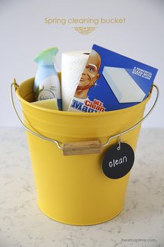 Gather all your favorite cleaning supplies in a bucket. I found this cute yellow one at IKEA and it just makes me happy. I find if my supplies are in a cute bucket, I'm more likely to use them. Silly, I know…but it works! ;)