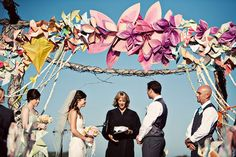 wedding arbor, I love the kite wedding shoes, wedding altars, kite, wedding arches, paper flowers, pinwheel, wedding arbors, green weddings, paper decorations