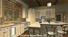 Comfortable, inviting kitchen - great downsizing small home plan SG-1799-AA from Carolina Home Plans.