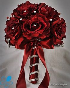 Red Sienna Rose:) #BroochBouquet #JeweledBouquet #wedding #bouquet