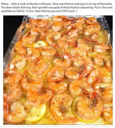 Baked Shrimp {Brooke- Best shrimp recipe I've ever made. Seriously will make it like this from now on. We did however use fresh shrimp!}