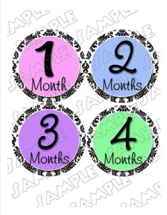 Damask Monthly Onesie Stickers Pastels