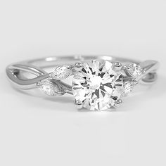 18K White Gold Willow Diamond Ring // Set with a 1.02 Carat, Round, Ideal Cut, H Color, VS1 Clarity Lab Diamond #BrilliantEarth