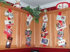 Wrap ribbon around cabinets and use clothespins to attach Christmas cards