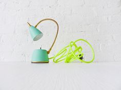 Vintage Lamp - Mint Green w/Neon Yellow Net Cloth cord.