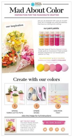 Martha Stewart Crafts Mad About Color May Palette of sunny pinks, oranges and yellow - click for the full how-to on projects and to shop the palette!  #marthastewart #marthastewartcrafts #plaidcrafts #diy #crafts #12Monthsofmartha #madaboutcolor