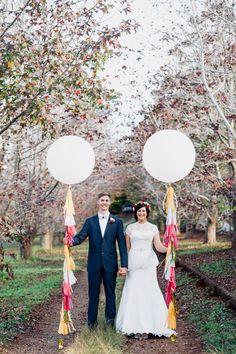festive balloons! photo by Jess Jackson http://ruffledblog.com/intimate-queensland-wedding #weddingideas #weddingportrait
