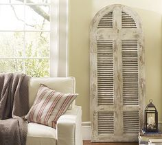 window shutters, old shutters, living room ideas, beach houses, old windows, shutter crafts, old doors, pottery barn, vintage doors