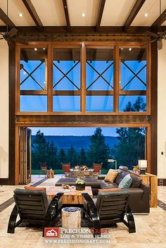 Great Room Looking Out | Modern Timber Frame Home | PrecisionCraft Timber Homes by PrecisionCraft Log Homes & Timber Frame, via Flickr
