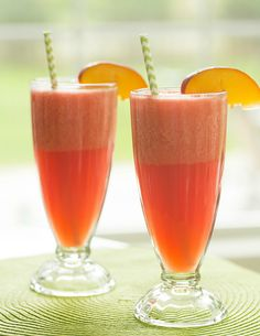 Watermelon-Peach Slushies | browneyedbaker.com #recipe #summer #drinks