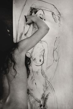sketch, self portraits