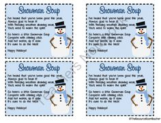 Snowman Soup Poem Printable | New Calendar Template Site