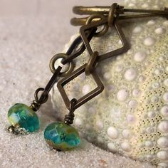 Blue Green Czech Glass Bead Earrings with Antique Brass Squares