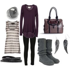 """Purple and Gray"" by lagu on Polyvore"