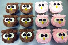 owl cupcakes   Owl Cupcakes for little girls 1st Birthday Party